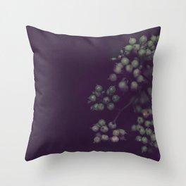 Sage Green Seeds on Deep Plum Throw Pillow