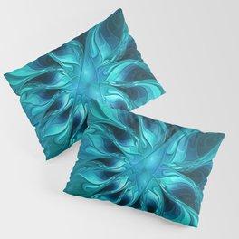 Blue Fantasy, Striking Abstract Fractal Art Pillow Sham