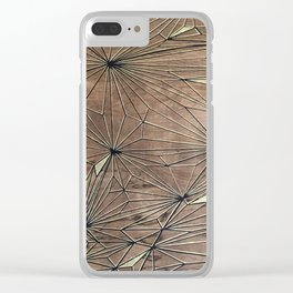 Stare Geometric Fractals on Wood Clear iPhone Case
