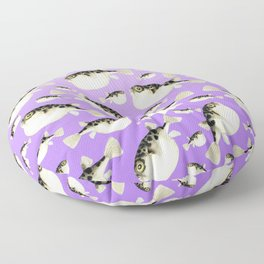 Puffer Fish Violet Purple Pattern Floor Pillow