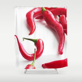 red chilies overexposed, sharp kitchen design of small pod Shower Curtain