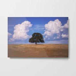 Symmetry a single oak among the clouds Metal Print