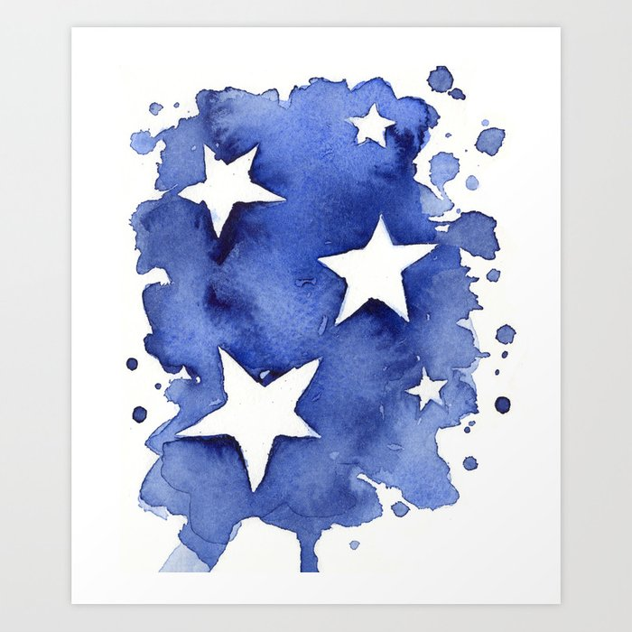 Stars Abstract Blue Watercolor Geometric Painting Art