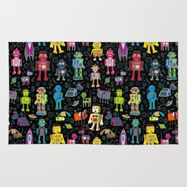 Robots in Space - on black Rug