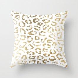 Modern white chic faux gold foil leopard print Throw Pillow