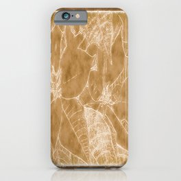 Poinsettias Outlined Brown iPhone Case