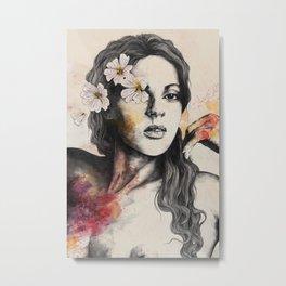 Sinaia | nude flower lady portrait Metal Print