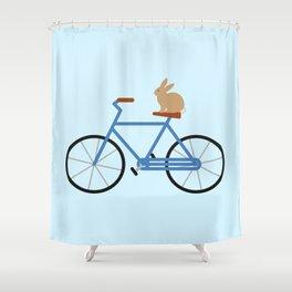 Bunny Riding Bike Shower Curtain