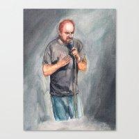 louis ck Canvas Prints featuring Louis CK by Joe Humphrey