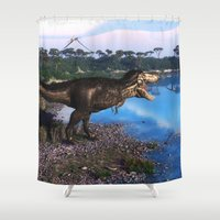 trex Shower Curtains featuring Tyrannosaurus 2 by Simone Gatterwe