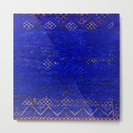 V11 Calm Blue Printed of Original Traditional Moroccan Carpet Metal Print