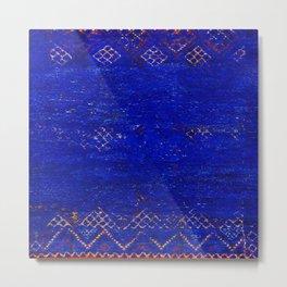 V11 Calm Blue Printed of Original Traditional Moroccan Carpet Metal Print