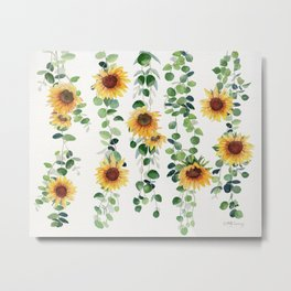 Eucalyptus and Sunflowers Garland  Metal Print