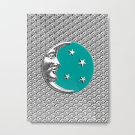 Art Deco Moon and Stars, Turquoise & Silver Metal Print