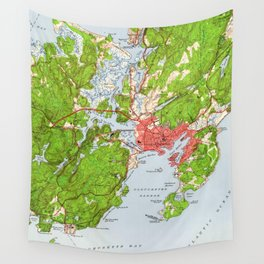 Vintage Map of Gloucester Massachusetts (1949) Wall Tapestry