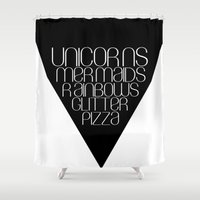 unicorns Shower Curtains featuring Unicorns by Mia & Booboo