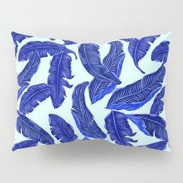 Banana leaves tropical leaves blue white #homedecor Pillow Sham