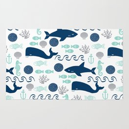 Nautical ocean animals sharks whales seahorses wave pattern sea life Rug