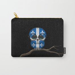 Baby Owl with Glasses and Quebec Flag Carry-All Pouch
