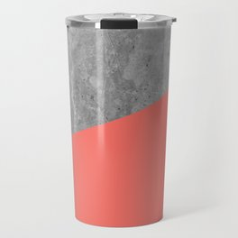 Living Coral on Concrete Geometrical Travel Mug