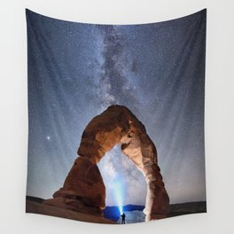 Starry Night Pointer at Milky Way Night sky in Moab Arches National Park  Utah USA  Wall Tapestry