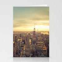 new york skyline Stationery Cards featuring New York Skyline Cityscape by Vivienne Gucwa