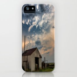 August Eve - Storm Sky Over Old Barn in Oklahoma iPhone Case
