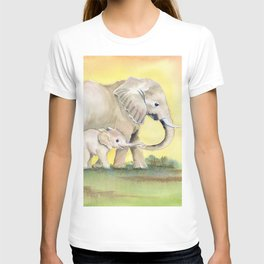 Colorful Mom and Baby Elephant 2 T-shirt