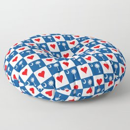 flag of south carolina with hearts Floor Pillow