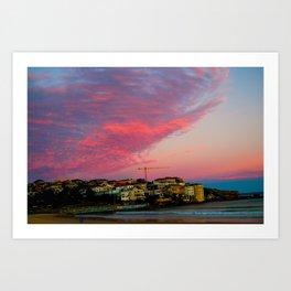 Bondi Beach Sunset night Art Print