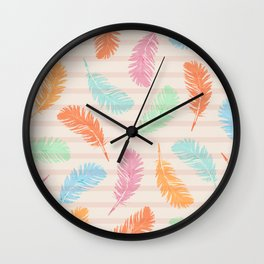Dancing summer feathers Wall Clock