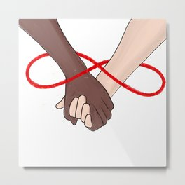 Infinity Love Black Lives Matter Human Rights Equality Holding Hands Blood Red Metal Print