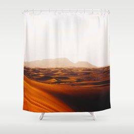Minimalist Desert Landscape Sand Dunes With Distant Mountains Shower Curtain