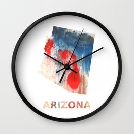Arizona map outline Red Blue nebulous watercolor Wall Clock