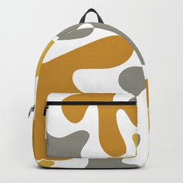 Cheerful Blobs Cutout Pattern in Mustard and Gray on White Backpack