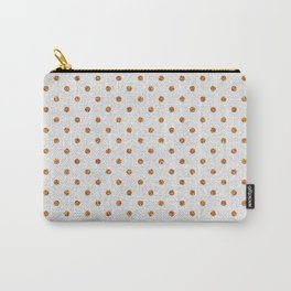 Elegant white modern faux gold glitter polka dots Carry-All Pouch