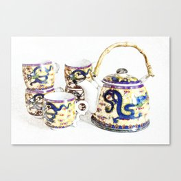 Time for tea. Delicate colors, Chinese tea set, retro look. Canvas Print
