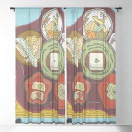Japanese Veggie Platter Sheer Curtain