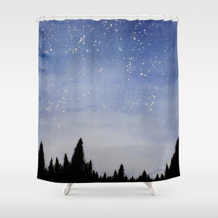 Forest Watercolors Shower Curtain