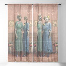 The Sloth Sisters at Home Sheer Curtain