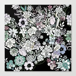 Colorful black detailed floral pattern Canvas Print