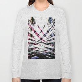 Abstract Tropical Black and Pink Jungle Leaves Long Sleeve T-shirt
