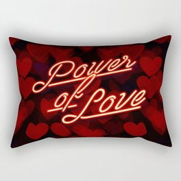 Inspirational love quotes retro neon sign, Valentine's red black hearts bokeh pattern Rectangular Pillow