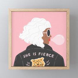 She is Fierce Pink Framed Mini Art Print