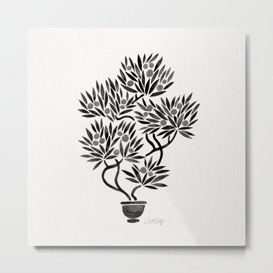 Bonsai Fruit Tree – Black Palette Metal Print