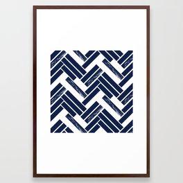 Modern Chevron - Blue Framed Art Print