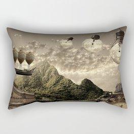 Steampunk clock and light bulbs background Rectangular Pillow