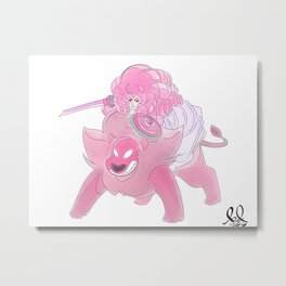 Rose Quartz and Lion Metal Print