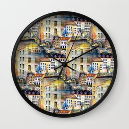 Gamla Stan Old City Stockholm Sweden Architectural Watercolor Landscape Wall Clock