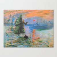 kaiju Canvas Prints featuring Impression Kaiju by Hillary White